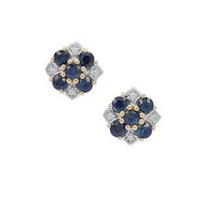 Australian Blue Sapphire Earrings with White Zircon in 9K Gold 1.30cts