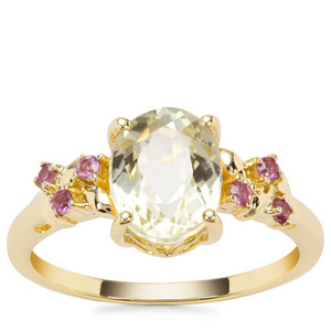 Minas Novas Hiddenite Ring with Rajasthan Garnet in 9K Gold 2.53cts