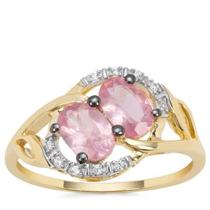Mozambique Pink Spinel Ring with White Zircon in 9K Gold 1.30cts