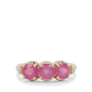 Ilakaka Hot Pink Sapphire Ring with White Zircon in 9K Gold 2.30cts (F)