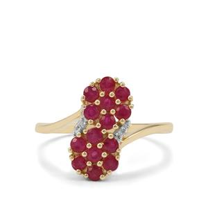 Burmese Ruby Ring with Diamond in 9K Gold 1.06cts