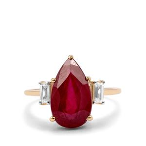 Malagasy Ruby Ring with White Zircon in 9K Gold 6cts (F)