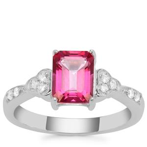 Mystic Pink Topaz Ring with White Zircon in Sterling Silver 2.03cts