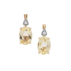 Canary Kunzite Earrings with Diamond in 9K Gold 2.47cts