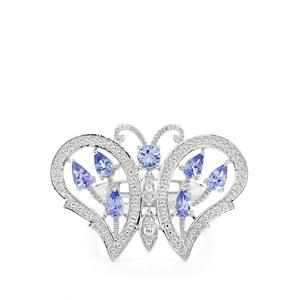 AA Tanzanite Papillon Ring in Sterling Silver 1.53cts