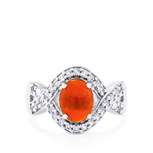 American Fire Opal Ring with White Topaz in Sterling Silver 2.10cts