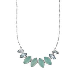 Aqua Chalcedony Necklace with Swiss Blue Topaz in Sterling Silver 30.56cts