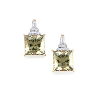 Csarite® Earrings with Diamond in 18K Gold 8.71cts