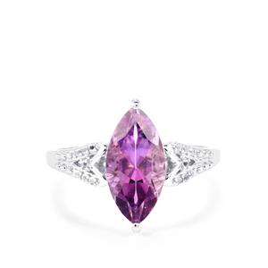 Moroccan Amethyst Ring with White Topaz in Sterling Silver 2.66cts