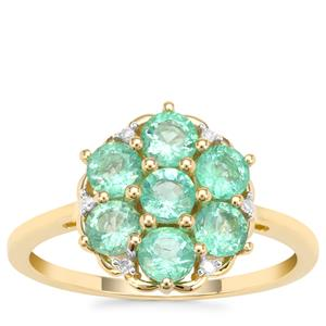 Ethiopian Emerald Ring with Diamond in 9K Gold 1.23cts