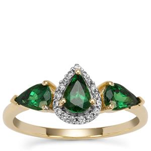 Tsavorite Garnet Ring with White Zircon in 9K Gold 1.34cts