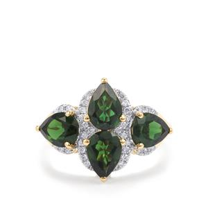Chrome Tourmaline Ring with Diamond in 18k Gold 2.60cts