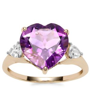 Moroccan Amethyst Ring with White Zircon in 10K Gold 4.32cts