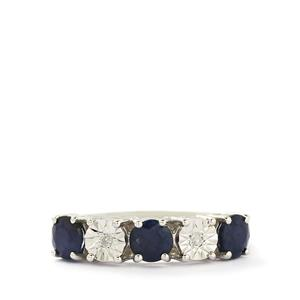 Blue Sapphire & Diamond Sterling Silver Ring ATGW 1.35cts