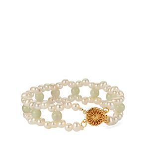 Kaori Cultured Pearl Bracelet with Jadeite in Gold Tone Sterling Silver