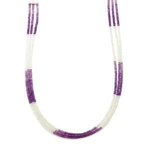Zambian Amethyst 3 Row Bead Necklace with White Topaz in Sterling Silver 48cts