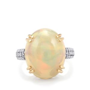 Ethiopian Opal Ring with Diamond in 18K Gold 10.41cts