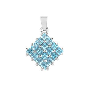 Swiss Blue Topaz Pendant in Sterling Silver 3.10cts