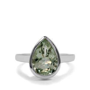 3.46ct Prasiolite Sterling Silver Ring
