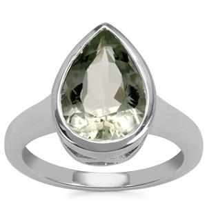 Prasiolite Ring in Sterling Silver 3.46cts