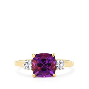 Moroccan Amethyst Ring with White Zircon in 10k Gold 2.14cts