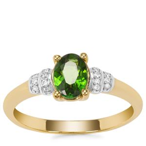 Chrome Diopside Ring with Diamond in Gold Plated Sterling Silver 0.89ct