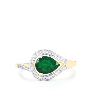 Carnaiba Brazilian Emerald Ring with White Zircon in 9K Gold 1.15cts