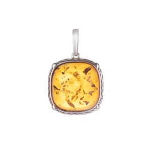 Baltic Cognac Amber Pendant in Sterling Silver (18mm)