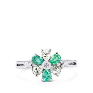 Zambian Emerald Ring with Ceylon White Sapphire & White Zircon in Sterling Silver 0.95cts