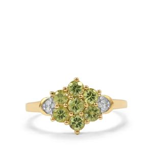 Ambanja Demantoid Garnet Ring with Diamond in 10K Gold 1.20cts
