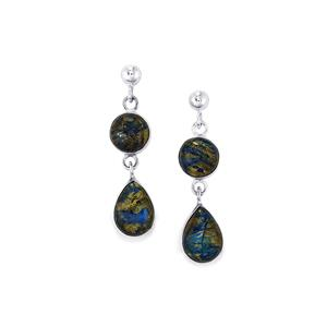 15.34ct Cyber Web Chrysocolla Sterling Silver Aryonna Earrings