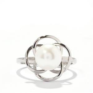 White Freshwater Cultured Pearl Sterling Silver Ring