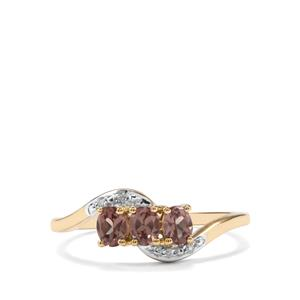 Bekily Colour Change Garnet & Diamond 10K Gold Ring ATGW 0.65cts