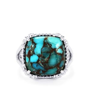 Egyptian Turquoise Ring with White Topaz in Sterling Silver 9.26cts