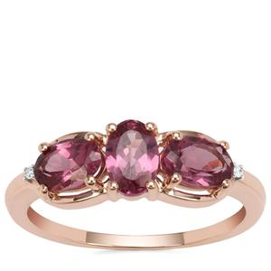Malaya Garnet Ring with Diamond in 9K Rose Gold 1.60cts