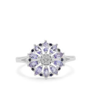 Tanzanite & Blue Sapphire Sterling Silver Ring ATGW 0.70ct