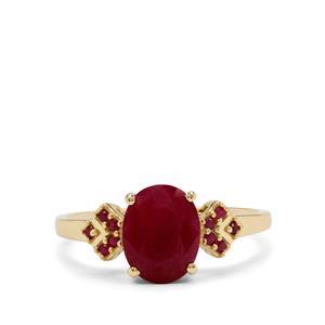 2.55ct Burmese & Madagascan Ruby 9K Gold Ring
