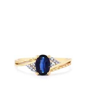 Daha Kyanite Ring with White Zircon in 9K Gold 1.07cts