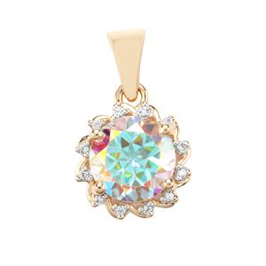 Mercury Mystic Topaz Pendant with White Zircon in 9K Gold 3.34cts