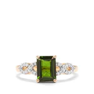 Chrome Diopside Ring with Diamond in 14K Gold 1.64cts