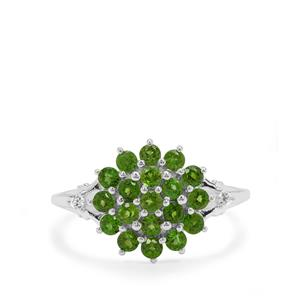 Chrome Diopside Ring with White Zircon in Sterling Silver 1.12cts