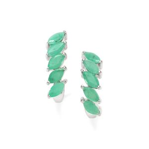 Carnaiba Brazilian Emerald Earrings in Sterling Silver 1.49cts