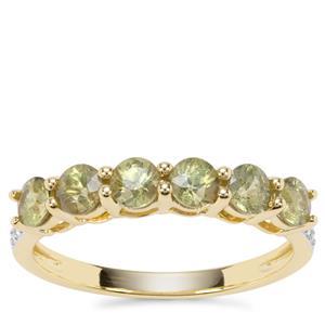 Ambanja Demantoid Garnet Ring with White Zircon in 9K Gold 1.31cts