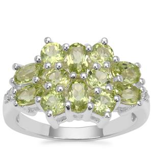 Changbai Peridot Ring with White Zircon in Sterling Silver 2.73cts