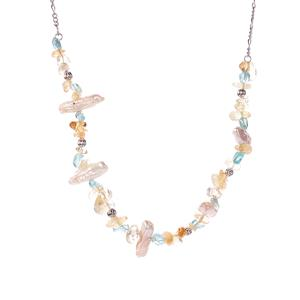 Baroque Cultured Pearl, Apatite Necklace with Citrine in Rhodium Flash Sterling Silver