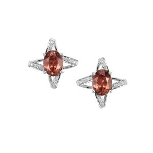 Zanzibar Zircon Earrings with Diamond in 18K White Gold 3.98cts