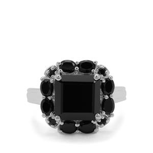 10.49ct Black Spinel Sterling Silver Ring