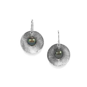 Tahitian Cultured Pearl Sterling Silver Earrings (9mm)