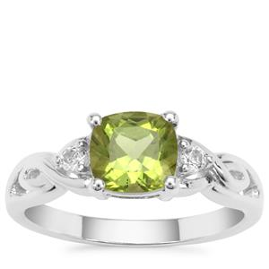 Red Dragon Peridot Ring with White Topaz in Sterling Silver 1.78cts