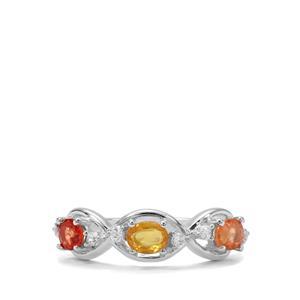 Songea Multi Sapphire & White Zircon Sterling Silver Ring ATGW 1.11cts